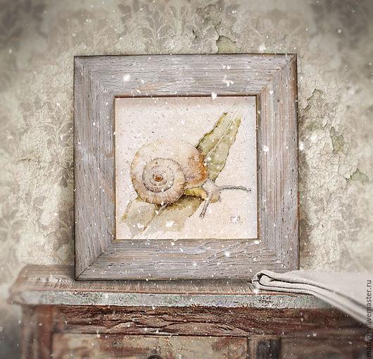 Животные ручной работы. Ярмарка Мастеров - ручная работа. Купить картина акварелью Господи, как высоко... (в состаренной вручную раме). Handmade.