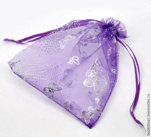 Мешочек из органзы фиолетовые `Бабочки`