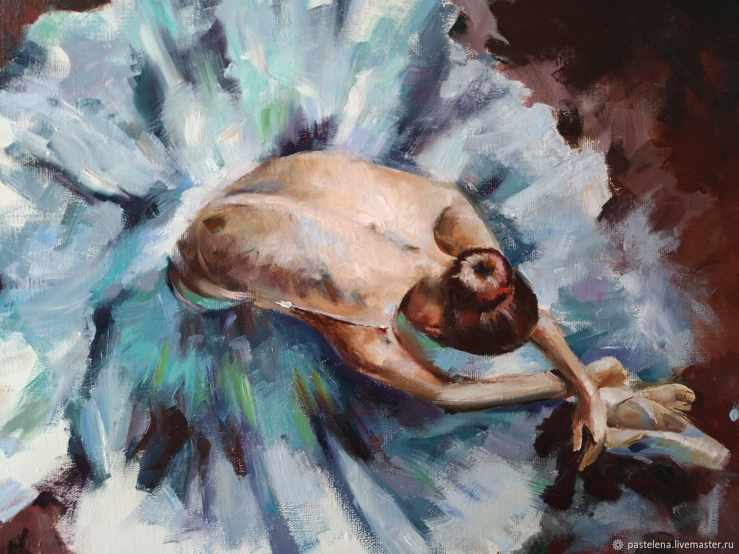 Oil painting on canvas Ballerina Turquoise (beige red-brown), Pictures, Yuzhno-Uralsk,  Фото №1