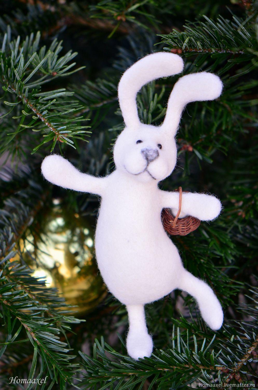 Felt toy White Hare with basket, Felted Toy, Heidelberg,  Фото №1