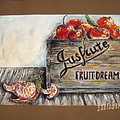 Картины и панно handmade. Livemaster - original item Watercolor Painting with Passepartout a BOX of TANGERINES. Handmade.