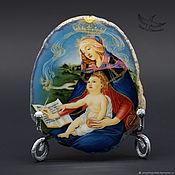 Картины и панно handmade. Livemaster - original item Panel picture on stone Botticelli Madonna Magnificat lacquer miniature. Handmade.