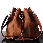 Сумки и аксессуары handmade. Livemaster - original item Bag-bag made of natural brown suede with a strap. Handmade.