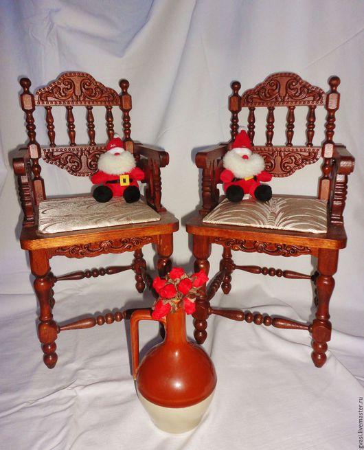 Миниатюра ручной работы. Ярмарка Мастеров - ручная работа. Купить Кукольное кресло, резное (бук).. Handmade. Кресло для куклы, коричневый