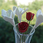Свадебный салон handmade. Livemaster - original item Stud with flowers of Freesia, Roses, decoration in the hair of clay. Handmade.