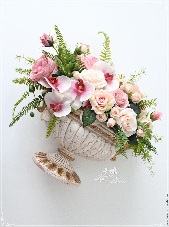 Композиции из искусственных цветов для интерьера в вазе