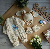 Комплекты одежды ручной работы. Ярмарка Мастеров - ручная работа Вязаный комплект для малышки.Работа на заказ. Handmade.