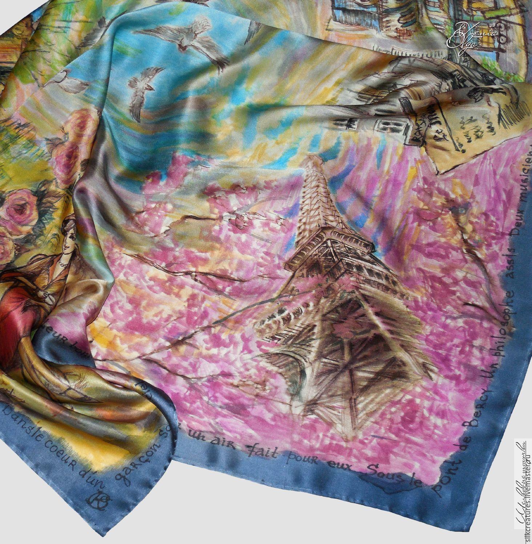 """""""Весна в Париже"""" шелковый платок с авторской ручной росписью, Платки, Санкт-Петербург,  Фото №1"""