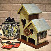 """Для дома и интерьера ручной работы. Ярмарка Мастеров - ручная работа Чайный домик двойной """"Зеленый сад"""". Handmade."""