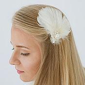 Свадебный салон ручной работы. Ярмарка Мастеров - ручная работа Свадебное украшение для волос с перьями, украшение для прически анкарс. Handmade.