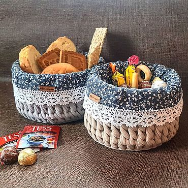 Для дома и интерьера ручной работы. Ярмарка Мастеров - ручная работа Корзиночки из трикотажной пряжи. Handmade.