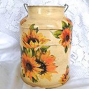 Посуда handmade. Livemaster - original item Cans Sun-sunflower. Handmade.