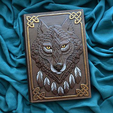 "Stationery handmade. Livemaster - original item Leather notebook ""SPIRIT OF THE WOLF"". Handmade."