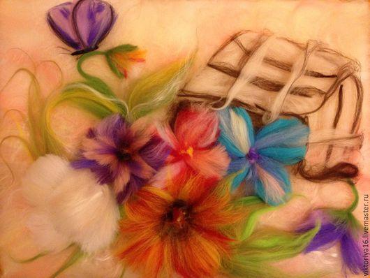 Картины цветов ручной работы. Ярмарка Мастеров - ручная работа. Купить Разноцветье в корзинке. Handmade. Разноцветный, шерсть меринос