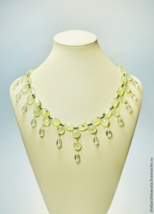"""Колье, бусы ручной работы. Ярмарка Мастеров - ручная работа. Купить Ожерелье из натурального пренита """"Весеннее настроение. Handmade."""