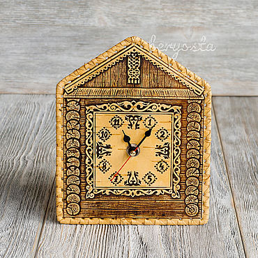 For home and interior handmade. Livemaster - original item The clock on the wall House. Decorative quartz clock made of birch bark. Handmade.