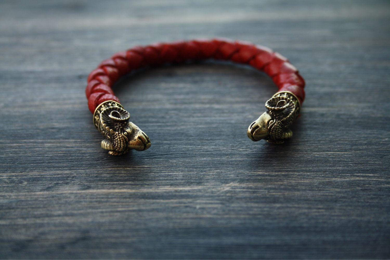 Браслеты ручной работы. Ярмарка Мастеров - ручная работа. Купить Кожаный браслет - Овен ( бронза ). Handmade. Бижутерия