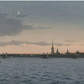 """Картины и панно handmade. Livemaster - original item Постеры спб  """"Троицкий мост.""""  с картины для интерьера спб. Handmade."""
