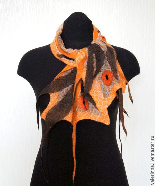 Шарфы и шарфики ручной работы. Ярмарка Мастеров - ручная работа. Купить Для ненастной погоды Нуно-войлочный шарфик. Handmade.