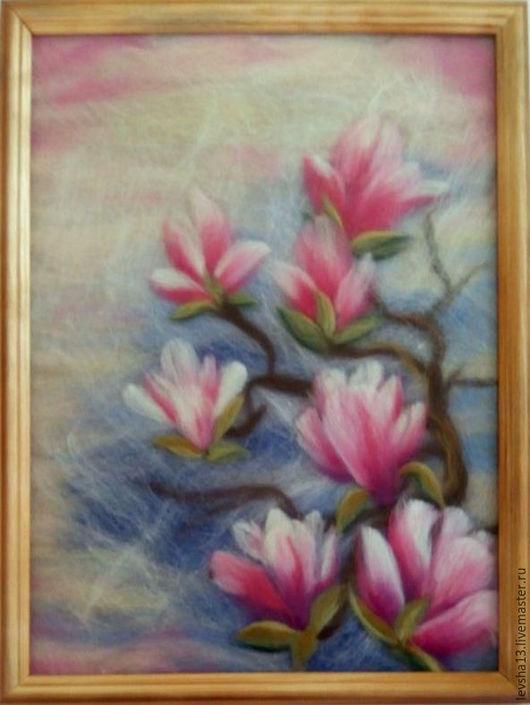 Картины цветов ручной работы. Ярмарка Мастеров - ручная работа. Купить Картина шерстяная акварель Магнолии. Handmade. Розовый, магнолии