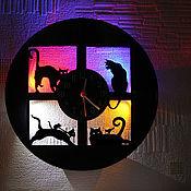 Для дома и интерьера handmade. Livemaster - original item Vinyl record Wall clock with LED light 4 kittens. Handmade.