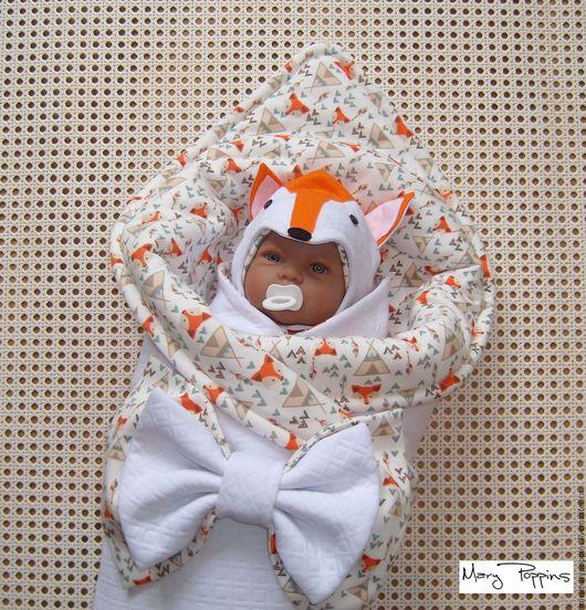"""Для новорожденных, ручной работы. Ярмарка Мастеров - ручная работа. Купить Комплект на выписку """"Лисенок"""". Handmade. Оранжевый, одеяло для новорожденного"""