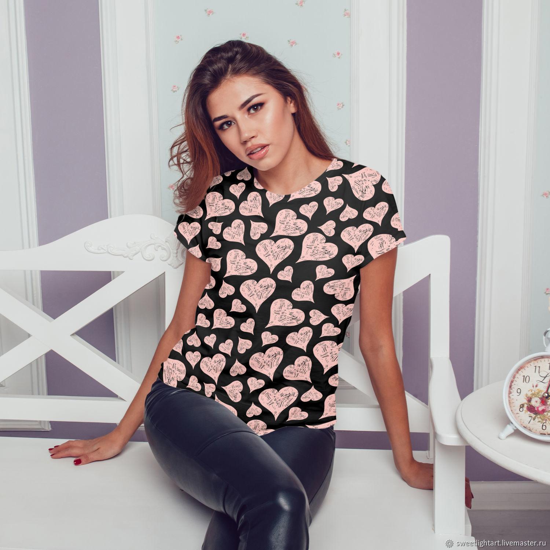 Женская футболка Розовая Нежность Сердца, Футболки, Ставрополь,  Фото №1