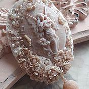Украшения ручной работы. Ярмарка Мастеров - ручная работа Брошь-камея delicate terracotta 2. Handmade.