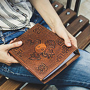 Канцелярские товары handmade. Livemaster - original item Leather cover for Notepad on rings