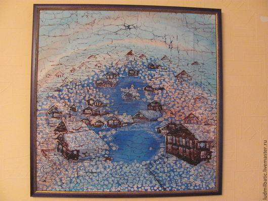 Пейзаж ручной работы. Ярмарка Мастеров - ручная работа. Купить Снегопад. Handmade. Синий, картина для интерьера, Снег, зимее утро