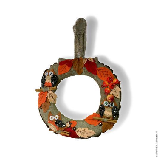 """Подвески ручной работы. Ярмарка Мастеров - ручная работа. Купить Интерьерный венок """"Совиная осень"""". Handmade. Зеленый, подарок, листья"""