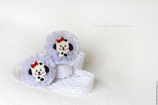 """Детская бижутерия ручной работы. Ярмарка Мастеров - ручная работа. Купить Резиночки для волос  """"Собачки"""" в подарок  для девочки. Handmade. Белый"""