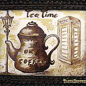 Картины и панно handmade. Livemaster - original item Watercolour coffee painting LONDON and COFFEE in a coffee bean frame. Handmade.