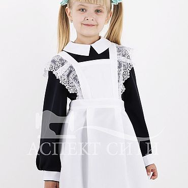 Товары для малышей ручной работы. Ярмарка Мастеров - ручная работа Фартук для школы, 3-268бд, белый. Handmade.