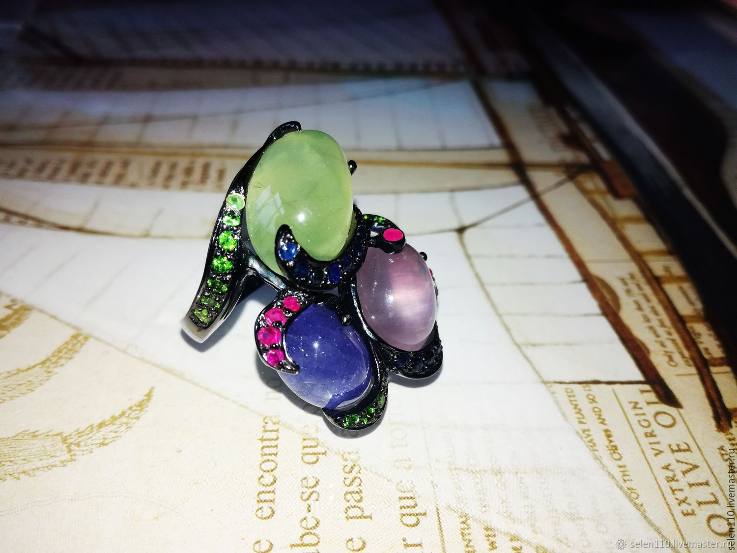 Three wishes ring with tanzanite, prenite and pink kvar, Rings, Voronezh,  Фото №1