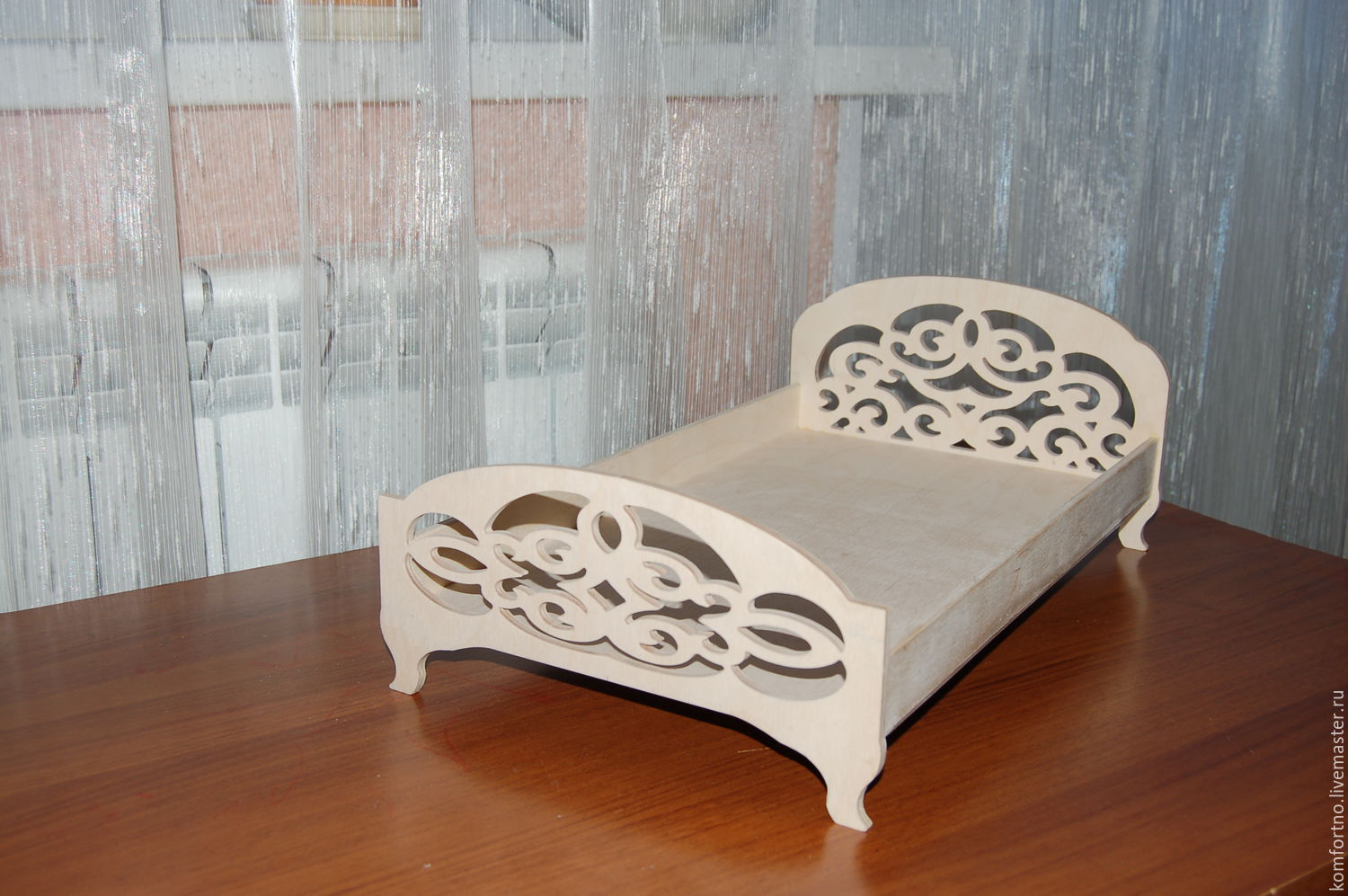 Dollhouse double bed.Blank for decoupage and painting.251