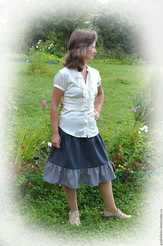 Юбка -миди,ярусная из шерсти .Юбка для девушки,девочки. Офисная одежда,офисная юбка ,школьная одежда ,школьная форма,юбка на резинке.Модная юбка,осенняя,зимняя . Анна Подивилова.