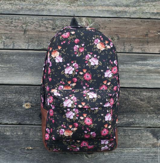 """Рюкзаки ручной работы. Ярмарка Мастеров - ручная работа. Купить Рюкзак """"Flower black"""". Handmade. Черный, рюкзак ручной работы"""