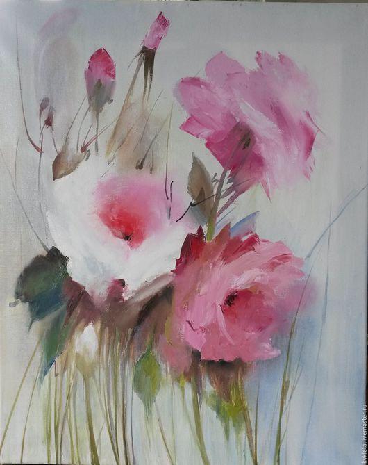 Картины цветов ручной работы. Ярмарка Мастеров - ручная работа. Купить Акция!!! Картина Маслом на холсте 40х50 Розы. Handmade.