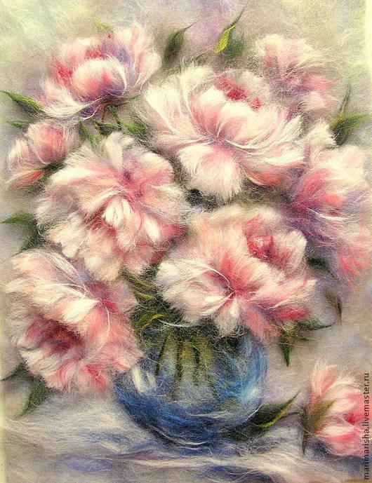 Картины цветов ручной работы. Ярмарка Мастеров - ручная работа. Купить Картина из шерсти Букет  Пионов. Handmade. Бледно-розовый