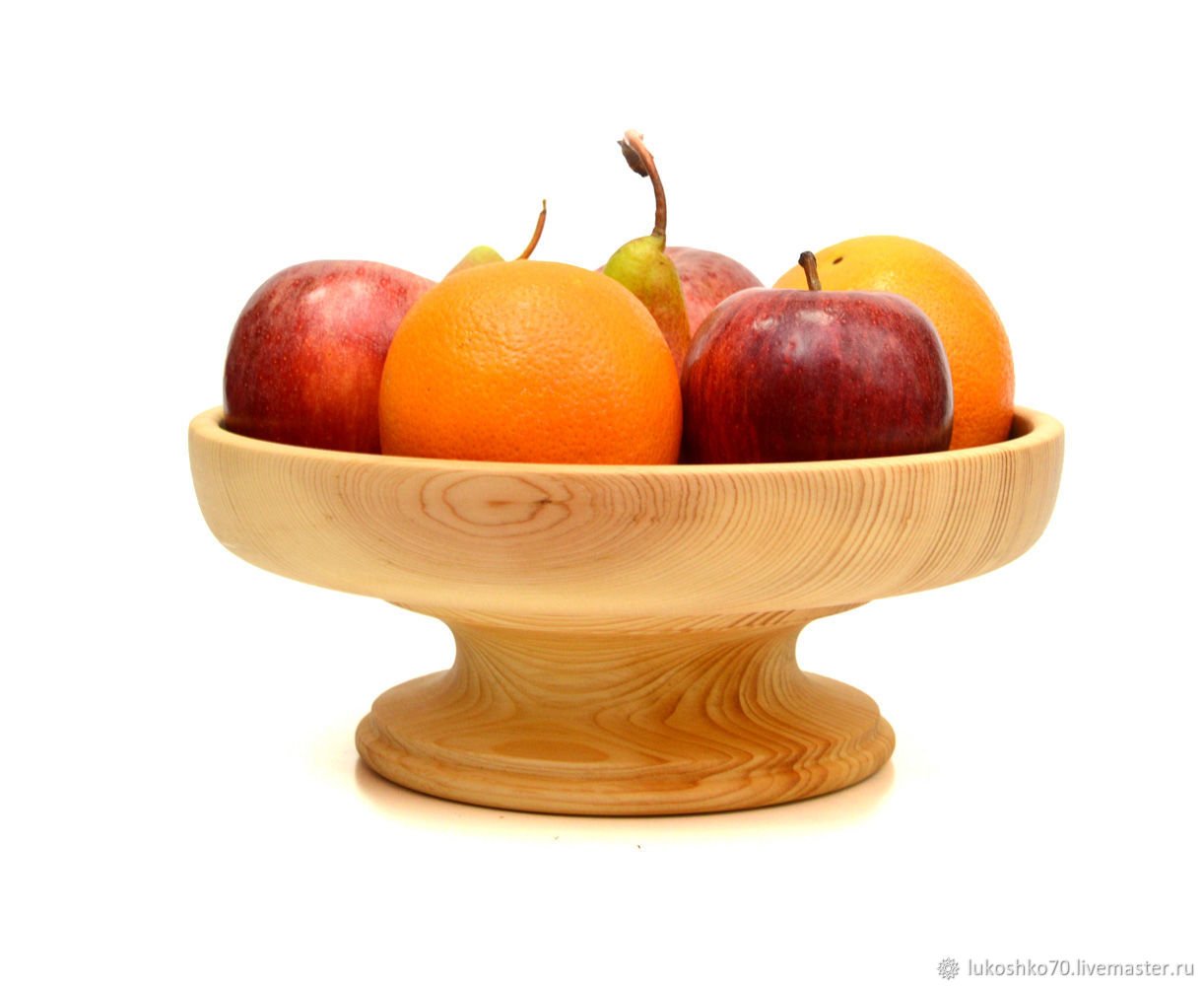 Wooden fruit bowl on a leg. Fruit bowl, Fruit makers, Tomsk,  Фото №1