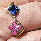 Rings handmade. Livemaster - original item Silver(925)ring gold 585(EUR), sapphire and rose quartz. Handmade.