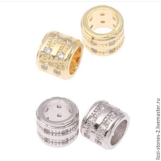 Бусина бочонок 2 ряда серебро и золото (Milano) Евгения (Lizzi-stones-2)