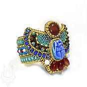 Украшения handmade. Livemaster - original item The band is rigid: Egyptian style bracelet with scarab and carnelian. Handmade.