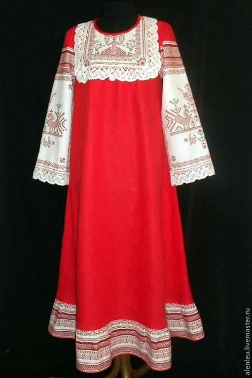 """Платья ручной работы. Ярмарка Мастеров - ручная работа. Купить """"Любовь и гармония"""" 2  платье льняное. Handmade. Ярко-красный"""