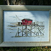 """Картины и панно ручной работы. Ярмарка Мастеров - ручная работа Вышитая картина """"Море"""". Handmade."""