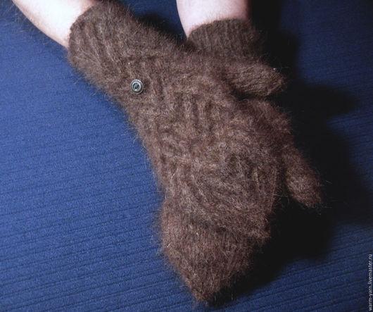 """Варежки, митенки, перчатки ручной работы. Ярмарка Мастеров - ручная работа. Купить Варежки-трансформеры мужские """"Горький Шоколад"""" из собачьей шерсти. Handmade."""
