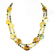 Украшения handmade. Livemaster - original item Long yellow beads natural agate. Handmade.