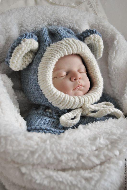 """Для новорожденных, ручной работы. Ярмарка Мастеров - ручная работа. Купить Шапка-шлем """"Джинсовый Мышонок"""". Handmade. Шапка-шлем"""