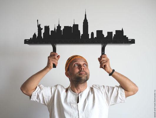 """Мебель ручной работы. Ярмарка Мастеров - ручная работа. Купить Полка """"Нью-Йорк"""". Handmade. Черный, Америка, небоскреб"""